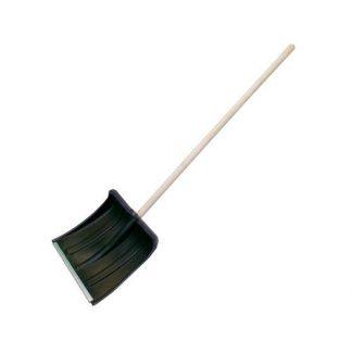 Лопата снегоуб пласт 380х380 с планкой d=32 с деревянным черенком